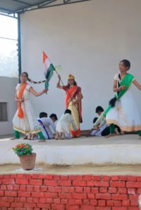 Girl Waves indian flag