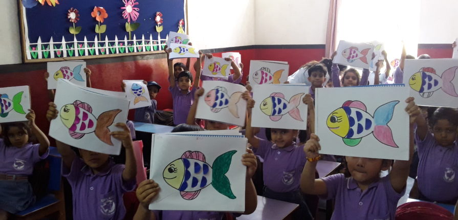 Fishes coming to life on Paper through hands of UKG children